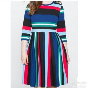 Eloquii Colorful Striped Plus Size Dress Sz 24